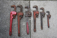 "ASSORTED HEAVY DUTY PIPE WRENCHES. FROM SIZE 8"" to 14"""