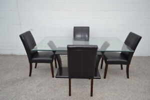(FREE DELIVERY) - 5 PCS MODERN GLASS DINING TABLE SET ONLY $499!