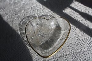 Beautiful Gold edged - heart shaped dish with etched roses