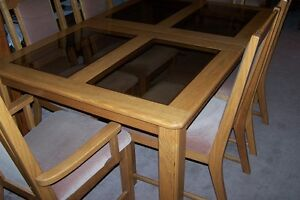 Solid Oak Table, Leaf and 6 High Back Upholstered Chairs