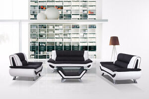 BEAUTIFUL 3 PIECE BLACK & WHITE SOFA SET ON SALE FOR ONLY $1199!