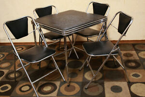 Mid Century Chrome Party Set Or Small Dinette SEE VIDEO