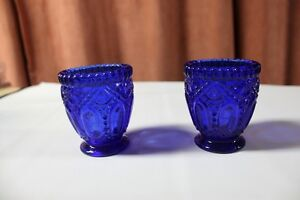 Two Beautiful Royal Blue Glass Candle Holders Cut Glass