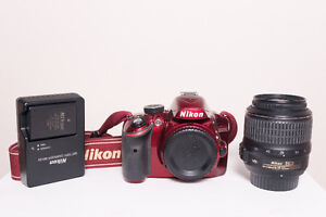 RED NIKON D3200 WITH 18-55mm LENS, *USED*  FOR SALE
