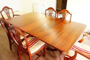 Solid Hardwood Table + 6 chairs for $250!!