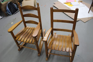 Two Shaker Style Children's Rocking Chairs (Solid Wood)