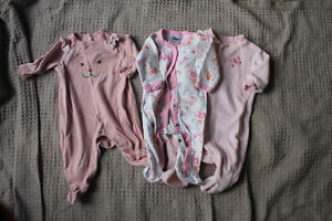 0-3 month girl sleepers lot