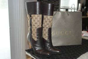 Authnetic Gucci monogram and leather boots 35.5