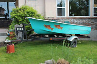 Vintage 12 foot Fishing BOat and Trailer