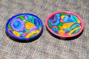 Two painted pottery bowls from Riviera Maya, Mexico