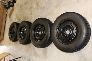 Winter snow tires on rims