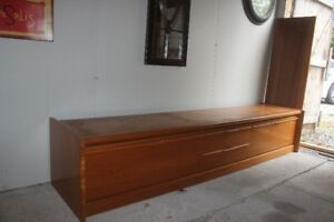 Teak T.V. Console, 2 Bookcases, Antique Typewriter