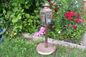 Vintage Heavy Copper Tone Lamp for Deck or Bar Decor
