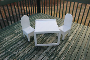 White Wooden Table & Chairs