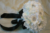 Wedding Bouquet Flower Set, White Hydrangeas With Brooches.