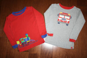2 Long Sleeve PJ Shirts Baby GAP - Firetruck/Train - 5T