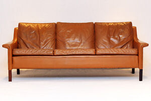 Mid Century Modern Leather and Rosewood Lounge Chair and Couch