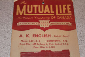 Calendrier Mutual Life vintage 1952