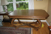 brown couch, unique oak table and other furniture moving