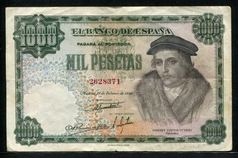 Spain 1946 ( 1948 ), 1000 Pesetas, P133, VF