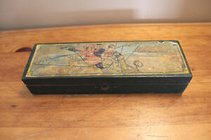 Old Child's Wooden Pencil Box - Zeppelin