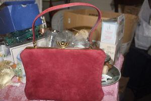 New Vintage Suede Like Ladies Purse & Original Store Receipt