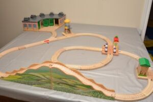 Wooden train tracks and stations with  roundhouse station