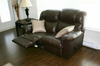 PALLISER LOVE SEAT, RECLINER & END TABLE