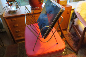 Cool retro/vintage brass magazine/record/book/knitting rack