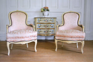 PETITE Pair Antique French Bergères ~ Delivery Available