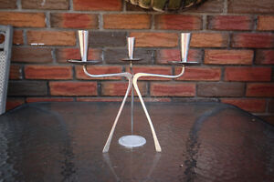 MID CENTURY RETRO CHROME CANDLE CANDLEABRA