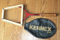 Wood Tennis Racket, Cover and Tennis Bag