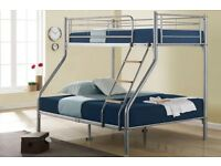 **14-DAY MONEY BACK GUARANTEE!**- Alexa Triple Metal Bunk Bed and Mattress - SAME/NEXT DAY DELIVERY