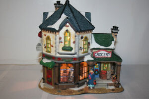 Christmas- Village Grocery Store/Clock  SOLD PPU