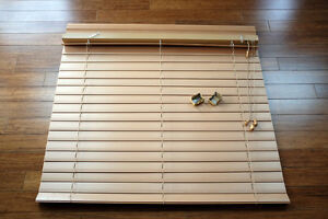 Two wood blinds, Hunter Doublas
