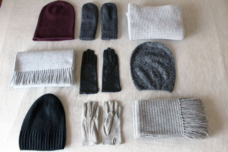 Texture is key when choosing accessories like hats, gloves and scarves.