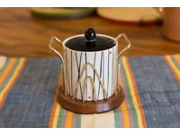 Vintage Crown Devon condiment pot with wooden and metal Wyncraft stand