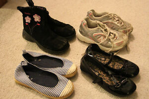 4 pairs of girls size 11 shoes including boots sneakers shoes