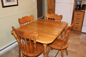 Solid Oak Wood 4 Chair Kitchen Table