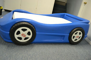 LITTLE TIKES RACE CAR BED WITH MATTRESS for sale