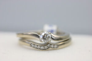 14K White Gold Diamond Wedding Ring Set Size 6 (#19509)