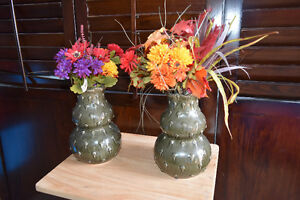 set of floral decor in unique vases