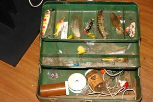 Vintage Fishing Tacklebox w/ Old Lures (one is wood)