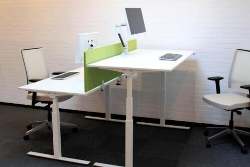 Bureau De Wit Inlog : ≥ elektrisch verstelbaar zit sta bureau wit 160x80 cm kantoor