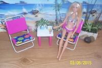 Hand made 12 inch Doll (Barbie, etc) Patio set Pink