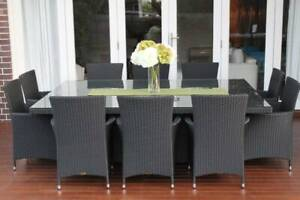 WICKER DINING SETTING,10 SEATER,EUROPEAN STYLED,B/NEW