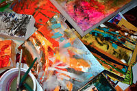 Abstract painting art studio offering painting classes!