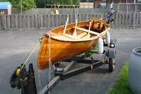 16-foot deep cedar strip canoe + trailer + accessories