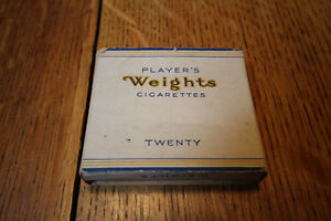 PLAYERS WEIGHTS CARDBOARD CIGARETTE PACK