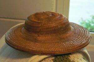 Women's Vintage Light Beige Wide Brim Asian Wicker HAT